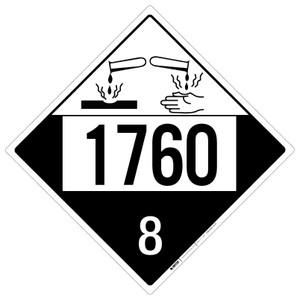 Corrosive: Class 8 - UN1760 - Placard Sign