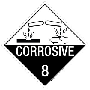 Corrosive: Class 8 - Placard Sign