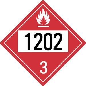 Flammable: Class 3 - UN1202 - Placard Sign