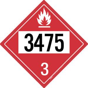 Flammable: Class 3 - UN3475 - Placard Sign