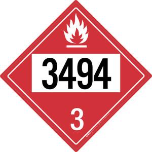 Flammable: Class 3 - UN3494 - Placard Sign