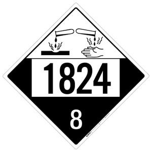 Corrosive: Class 8 - UN1824 - Placard Sign