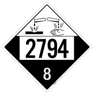 Corrosive: Class 8 - UN2794 - Placard Sign