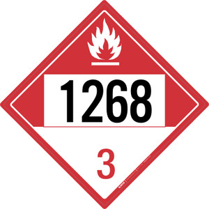 Combustible: Class 3 - UN1268 - Placard Sign