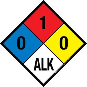 NFPA 704: 0-1-0 ALK - Wall Sign