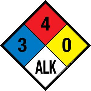 NFPA 704: 3-4-0 ALK - Wall Sign
