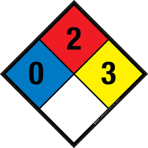 NFPA 704: 0-2-3 - Wall Sign