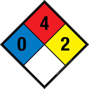 NFPA 704: 0-4-2 - Wall Sign