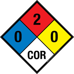 NFPA 704: 0-2-0 COR - Wall Sign