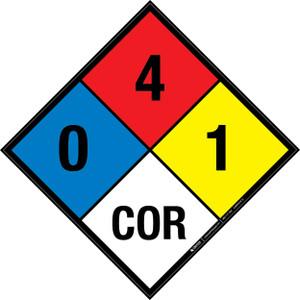 NFPA 704: 0-4-1 COR - Wall Sign