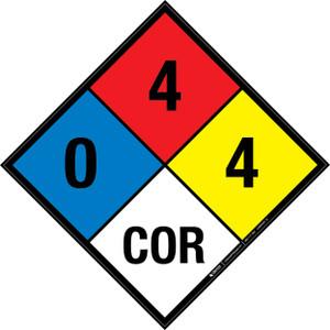 NFPA 704: 0-4-4 COR - Wall Sign