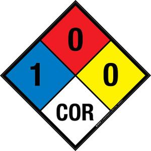 NFPA 704: 1-0-0 COR - Wall Sign