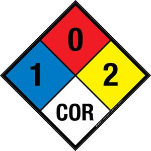 NFPA 704: 1-0-2 COR - Wall Sign