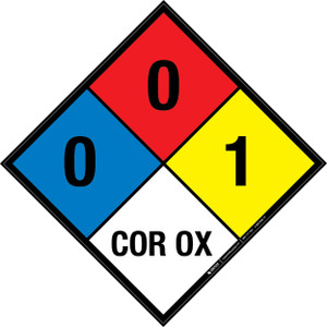 NFPA 704: 0-0-1 COR OX - Wall Sign
