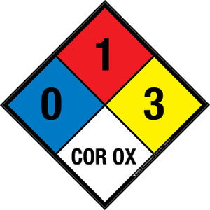 NFPA 704: 0-1-3 COR OX - Wall Sign