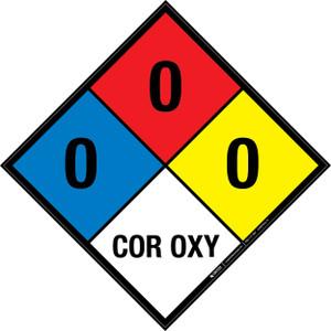 NFPA 704: 0-0-0 COR OXY - Wall Sign