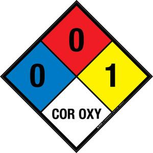 NFPA 704: 0-0-1 COR OXY - Wall Sign