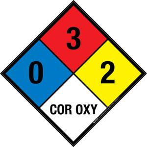 NFPA 704: 0-3-2 COR OXY - Wall Sign