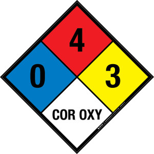 NFPA 704: 0-4-3 COR OXY - Wall Sign