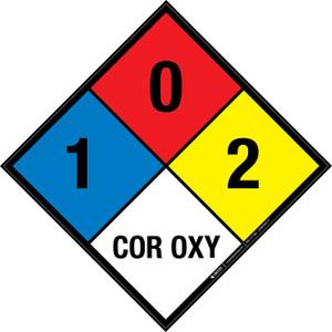 NFPA 704: 1-0-2 COR OXY - Wall Sign