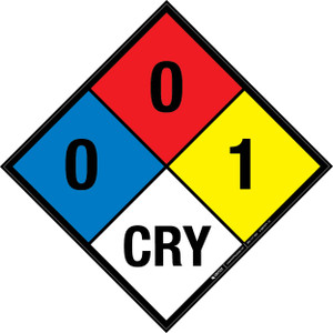 NFPA 704: 0-0-1 CRY - Wall Sign