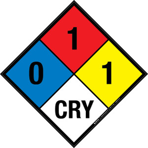 NFPA 704: 0-1-1 CRY - Wall Sign