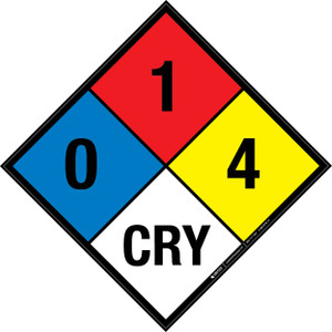 NFPA 704: 0-1-4 CRY - Wall Sign