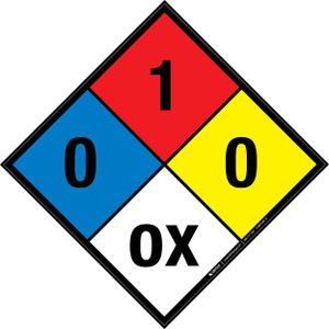 NFPA 704: 0-1-0 OX - Wall Sign