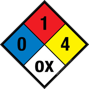 NFPA 704: 0-1-4 OX - Wall Sign