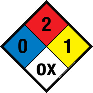 NFPA 704: 0-2-1 OX - Wall Sign