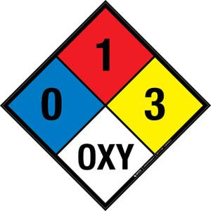 NFPA 704: 0-1-3 OXY - Wall Sign