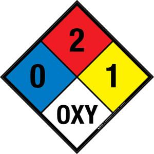 NFPA 704: 0-2-1 OXY - Wall Sign