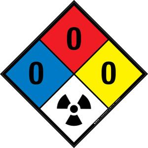 NFPA 704: 0-0-0 RAD - Wall Sign