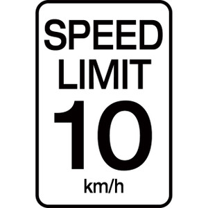 Speed Limit 10 km - Aluminum Sign