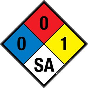 NFPA 704: 0-0-1 SA - Wall Sign