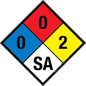 NFPA 704: 0-0-2 SA - Wall Sign