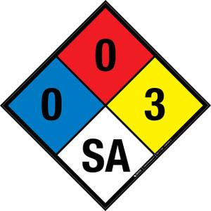 NFPA 704: 0-0-3 SA - Wall Sign