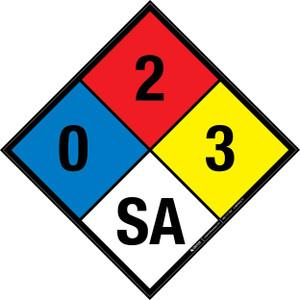 NFPA 704: 0-2-3 SA - Wall Sign