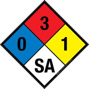 NFPA 704: 0-3-1 SA - Wall Sign