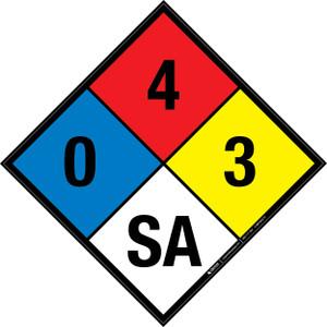 NFPA 704: 0-4-3 SA - Wall Sign