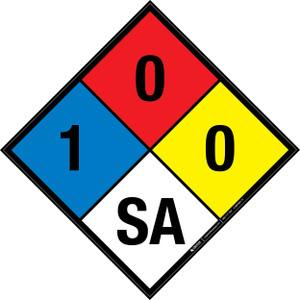 NFPA 704: 1-0-0 SA - Wall Sign