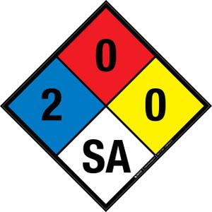 NFPA 704: 2-0-0 SA - Wall Sign