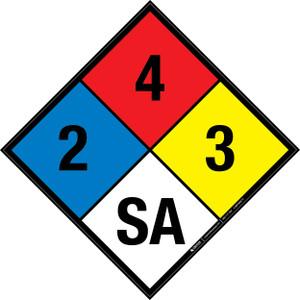NFPA 704: 2-4-3 SA - Wall Sign