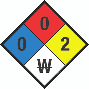 NFPA 704: 0-0-2 W - Wall Sign