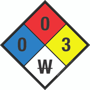 NFPA 704: 0-0-3 W - Wall Sign