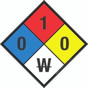 NFPA 704: 0-1-0 W - Wall Sign
