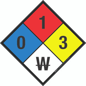 NFPA 704: 0-1-3 W - Wall Sign