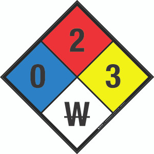 NFPA 704: 0-2-3 W - Wall Sign