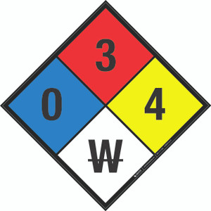 NFPA 704: 0-3-4 W - Wall Sign