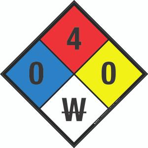 NFPA 704: 0-4-0 W - Wall Sign